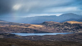 The Assynt and Coigach hills. Conival and Cam Loch from the slopes of Cul Mor, Highlands Alan Gordon/ Scottish Viewpoint uk,u.k,Great Britain,GB,G.B,Scotland,Scottish,nobody,outdoors,Assynt,Geopark,Munro,Sutherland,cloudy,rain,atmospheric,raining,conival,cam loch,mountain,mountains,hill,hills,misty