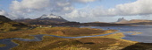 Panoramic view of Cul Mor, Cul Beag and Suilven in Sutherland. View from near Cam loch.Elphin hamlet can be seen under Cul Mor. Sutherland, Highlands of Scotland Mark Ferguson / Scottish Viewpoi uk,u.k,Great Britain,GB,G.B,Scotland,Scottish,nobody,outdoors,daytime,snow,Cam loch,Cul Beag,Cul Mor,Suilven,wild,wilderness,remote,Elphin,rugged,highlands,mountain,mountains,hill,hills,highland