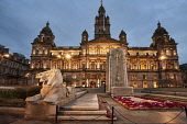 George Square Glasgow, City Chambers,  Scotland, Dennis Barnes/ Scottish Viewpoin uk,u.k,Great Britain,GB,G.B,Scotland,Scottish,nobody,outdoors,night time,glasgow,george square