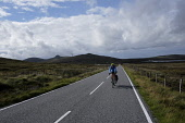 A cyclist on North Uist,  Outer Hebrides, Scotland. Iain McLean/ Scottish Viewpoint uk,u.k,Great Britain,GB,G.B,Scotland,Scottish,1 person,daytime,outdoors,Outer Hebrides,western isles,cycling,cyclist,cyclists,bike,bikes,biking,biker,bikers,bicycle,bicycles,island,islands,isle,isles,
