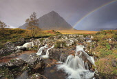 Waterfalls on Rannoch Moor with Buachaille Etive Mor and a rainbow in the background. Highlands of Scotland Andrew Ray/ Scottish Viewpoint uk,u.k,Great Britain,GB,G.B,Scotland,Scottish,nobody,daytime,outdoors,autumn,autumnal,rannoch moor,Buachaille Etive Mor,rainbow,river,rivers,mountain,mountains,hill,hills,munro,highland,highlands