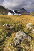 Blackrock Cottage with the Buachaille Etive Mor visible beyond, Glen Coe, Highlands of Scotland Andrew Ray/ Scottish Viewpoint uk,u.k,Great Britain,GB,G.B,Scotland,Scottish,nobody,daytime,outdoors,autumn,autumnal,rannoch moor,Buachaille Etive Mor,mountain,mountains,hill,hills,munro,blackrock,black,rock,highlands,highland,cott