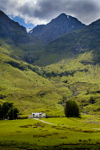A house in Glen Coe near the shore of Loch Achtriochtan, Highlands of Scotland Andrew Wilson/ Scottish Viewpoin uk,u.k,Great,Britain,GB,G.B,Scotland,Scottish,nobody,daytime,outdoors,summer,Highlands of Scotland,glencoe,glen,coe,Loch Achtriochtan,mountain,mountains,hill,hills,house,cottage,houses,cottages,remote