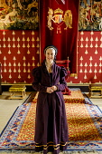 A lady in traditional period costume in the Queen's Inner Hall, Stirling Castle, Scotland Andrew Wilson / Scottish Viewpoint uk,u.k,Great Britain,GB,G.B,Scotland,Scottish,1 person,Inner Hall,Period costume,Stirling Castle,Throne,historic scotland,history,lady,tourist attraction