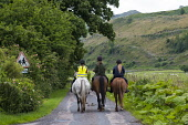 Three female horse riders riding horses in lane in middle of Argyll and Bute in Scotland United Kingdom Iain Masterton / Scottish Viewpoint horseriders,horses,riding,horseriding,lane,Scotland,Scottish,leisure,recreation,sport,UK,Britain,British,united Kingdom,equestrian,sports,street,rosd,females,women,young
