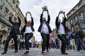"Actors from GLT Theatre Group promoting production ""Plain as Paper"" on  High Street during Edinburgh Fringe Festival 2016 in Scotland , United Kingdom Iain Masterton / Scottish Viewpoint Edinburgh,fringe,festival,festivals,outdoor,Scotland,Scottish,artist,artists,performer,performers,street,daytime,United,Kingdom,UK,Britain,British,culture,cultural,actor,Europe,European,city,cities,in"