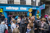 Busy street outside Edfringe official ticket office and shop on High Street in Edinburgh during Fringe Festival 2016,Scotland, United Kingdom Iain Masterton / Scottish Viewpoint Edinburgh,fringe,festival,festivals,outdoor,Scotland,office,shop,edfringe,many,people,Scottish,street,daytime,United,Kingdom,UK,Britain,British,culture,cultural,actor,Europe,European,city,cities,inter