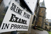 Detail of sign asking for silence during examinations at Glasgow University in Scotland Iain Masterton / Scottish Viewpoint Glasgow,University,exam,examination,sign,signage,education,Britain,British,city,Universities,outside,educational,United Kingdom,Scotland,Scottish,cities,historic,learning,Europe,European