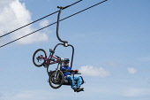 Downhill mountain bike cyclist on chairlift at Glen Coe on way to competition in Scotland, united Kingdom Iain Masterton / Scottish Viewpoint chairlift,Glen coe,Scotland,summer,cyclist,mountain,biker,bike,downhill,man,sport,sports,competition,Scottish,united,Kingdom,Britain,British,Europe,european