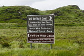 Traffic sign in north west Scotland with tourist advice to North Coast and West Coast Iain Masterton / Scottish Viewpoint Traffic,sign,Scotland,Scottish,highway,highland,tourist,route,tourism travel,road,signage,United Kingdom,British,Britain,daytime,nobody,outdoors