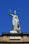 Ornate statue on roof of The Italian Centre historic building in Merchant City district of Glasgow Scotland Iain Masterton / Scottish Viewpoint Glasgow,Scotland,Scottish,statue,Merchant,city,historic,detail,street,heritage,traditional,Britain,British,United Kingdom,Europe,European,building,urban,monument,history,district,decoration,sculpture,