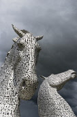 The Kelpies sculpture of two horses at entrance to the  Forth and Clyde Canal at The Helix Park near Falkirk, Scotland Iain Masterton / Scottish Viewpoint Kelpies,sculpture,sculptures,art,installation,Scotland,Forth,Clyde Canal,Falkirk,Helix,Park,Andy Scott,travel,tourism,landmark,modern,Scottish,United Kingdom,Britain,British,Europe,European,daytime,ou