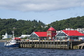 Cafes and Ee-Usk restaurant on North Pier in harbour at Oban , Argyll and Bute, Scotland, United Kingdom Iain Masterton / Scottish Viewpoint Oban,pier,harbour,cafe,Scotland,Scottish,town,Argyll,Bute,travel,tourism,summer,daytime,outdoors,United Kingdom,UK,Britain,British