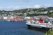 View of town of Oban with Caledonian Macbrayne ferry in Argyll and Bute, Scotland, United Kingdom Iain Masterton / Scottish Viewpoint Oban,skyline,view,harbour,ferry,calmac,caledonian,Macbrayne,town Scotland,Scottish,towns,Argyll,Bute,daytime,travel,tourism,Britain,British,United Kingdom,Europe,European,summer