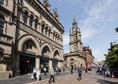 View of historic buildings on Buchanan Street, popular shopping street,  in central Glasgow United Kingdom Iain Masterton / Scottish Viewpoint Buchanan,street,streets,Glasgow,busy,people,shops,shopping,shoppers,pedestrians,Scotland,Scottish,retail,store stores,daytme,exterior,Britain,city,cities,United Kingdom,British,Europe,european,urban,s