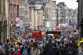 View along High Street with many people on a busy day at the Edinburgh Fringe Festival 2016, Scotland, United Kingdom Iain Masterton / Scottish Viewpoint Edinburgh,fringe,festival,high,street,crowded,crowd,busy,many,Scotland,Scottish,city,cities,view,United Kingdom,britain,british,UK,travel,tourism,daytime,outdoors,Europe,European