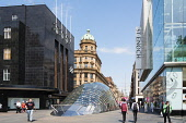 view of entrance to St Enoch station on Glasgow Underground at St Enoch Square in Glasgow, Scotland, United Kingdom Iain Masterton / Scottish Viewpoint Glasgow,St Enoch,Square,city,urban,scene,street,subway,metro,station,Scotland,Scottish,building,exterior,United Kingdom,Europe,European,daytime,outdoor,architecture,entrance,people