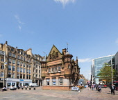 Former underground station office and entrance at  St Enoch Square in Glasgow, Scotland, United Kingdom Iain Masterton / Scottish Viewpoint Glasgow,St Enoch,Square,city,urban,scene,street,subway,metro,station,Scotland,Scottish,building,exterior,United Kingdom,Europe,European,daytime,outdoor,architecture,entrance,people