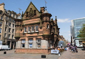 Former underground station office and entrance at  St Enoch Square in Glasgow, Scotland, United Kingdom Iain Masterton / Scottish Viewpoint Glasgow,St Enoch,Square,city,urban,scene,street,subway,metro,station,Scotland,Scottish,building,exterior,United Kingdom,Europe,European,daytime,outdoor,architecture,entrance