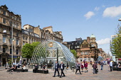 View of south entrance to underground station at St Enoch Square in Glasgow, Scotland, United Kingdom Iain Masterton / Scottish Viewpoint Glasgow,St Enoch,Square,city,urban,scene,street,subway,metro,station,Scotland,Scottish,building,exterior,United Kingdom,Europe,European,daytime,outdoor,architecture,entrance,people,cityscape