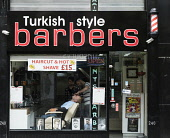 Turkish style Barber shop on Sauchiehall Street in Glasgow, Scotland, United Kingdom Iain Masterton / Scottish Viewpoint barber,shop,barbers,Glasgow,Turkish,mens,male,grooming,hairdresser,shops,shave,shaving,Scotland,Scottish,immigration,immigrants,migration,exterior,business,work,working,building,shop front,United,king