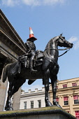 Duke of Wellington Statue with traffic cone on head outside Museum of Modern Art  in Glasgow, Scotland, United Kingdom Iain Masterton / Scottish Viewpoint Wellington,statue,Glasgow,traffic,cone,duke,heritage,landmark,modern,art,museum,outdoor,nobody,Scotland,Scottish,daytme,United,Kingdom,Britain,british,Europe,European,city,cities,urban,scene