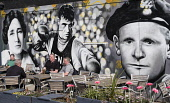 Men drinking outside Clutha pub in Glasgow united Kingdom Iain Masterton / Scottish Viewpoint Clutha,bar,pub,Glasgow,bars,pubs,Scotland,Scottish,exterior,outside,outdoor,people,drinking,Britain,British,united Kingdom,murals,art,street,Europe,European,city,cities,urban,old