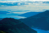 Loch Goil, the Firth of Clyde, Cumbrae and Ailsa Craig from Ben Donich, the Arrochar Alps, Loch Lomond and the Trossachs National Park, Argyll & Bute, Scotland Keith Fergus / Scottish Viewpoint uk,u.k,Great Britain,GB,G.B,Scotland,Scottish,nobody,daytime,outdoors,Loch Goil,the Firth of Clyde,Cumbrae,Ailsa Craig,coast,coastal,coastline,water,sea,island,islands,isle,isles,seascape