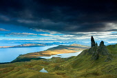 The Old Man of Storr and the Cuillin, Isle of Skye, Inner Hebrides, Scotland Keith Fergus/ Scottish Viewpoint uk,u.k,Great Britain,GB,G.B,Scotland,Scottish,nobody,daytime,outdoors,autumn,cuillin,cuillins,skye,island,islands,isle,isles,mountain,mountains,hill,hills