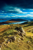 The Old Man of Storr and the Cuillin, Isle of Skye, Inner Hebrides, Scotland Keith Fergus/ Scottish Viewpoint uk,u.k,Great Britain,GB,G.B,Scotland,Scottish,nobody,daytime,outdoors,skye,storr,cuillin,cuillins,island,islands,isle,isles,mountain,mountains,hill,hills,old,man