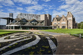 Inverness, Eden Court Theatre, City Centre,  Highlands, Scotland. Dennis Barnes/ Scottish Viewpoint uk,u.k,Great Britain,GB,G.B,Scotland,Scottish,1 person,daytime,outdoors,summer,inverness,gardens,eden highland,highlands,theatre,court