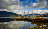 The puffer Vital Spark tied up at low tide at Inveraray, Scotland Andrew Wilson/ Scottish Viewpoint uk,u.k,Great Britain,GB,G.B,Scotland,Scottish,nobody,daytime,spring,Vital Spark,Puffer,boat,low tide,tidal,loch,Loch Fyne,Inveraray,sunshine,harbour,jetty,sea loch