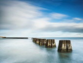 Pillars of the South Breakwater at Arbroath Harbour, Angus, Scotland Allan Coutts/ Scottish Viewpoint uk,u.k,Great Britain,GB,G.B,Scotland,Scottish,nobody,daytime,outdoors,angus,arbroath,boats,harbour,harbours,horizontal,in,photography,places,recreational boats,town,towns,twaterfront,waterfronts,blue