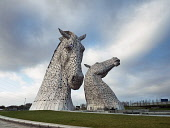 The Kelpies in the Helix Park, Falkirk, Scotland Allan Coutts/ Scottish Viewpoint uk,u.k,Great Britain,GB,G.B,Scotland,Scottish,nobody,daytime,outdoors,andy scott,equestrian,equine,Falkirk,great,head,heads,helix,horse,kelpies,metal,metallic,monuments,park,sculpture,sculptures,statu