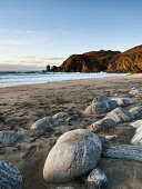 Dalmor Beach  near Carloway, Isle of Lewis. Sea-worn rocks of Lewisian gneiss are seen in the foreground, Outer Hebrides, Scotland Allan Coutts/ Scottish Viewpoint uk,u.k,Great Britain,GB,G.B,Scotland,Scottish,nobody,daytime,outdoors,afternoon,bay,beauty,cliff,colour,colour image,dalmore bay,day,idyllic,isle,landscape,lewis,motion,natural world,nature,no one,no