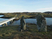 Tursachan, the Callanish VIII stones on edge of a cliff on the south of the island of Great Bernera and the bridge to the Isle of Lewis. Outer Hebrides, Scotland Allan Coutts/ Scottish Viewpoint uk,u.k,Great Britain,GB,G.B,Scotland,Scottish,nobody,daytime,bernera bridge,bridge,bridge over atlantic,bridges,eilean le�dhais,great bernera,hebridean,highway,highways,isle of lewis,leodhais,loch,loc