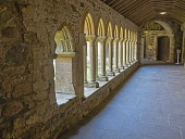 Vaulted ceiling and arches of the cloisters at St Marys abbey Isle of Iona Inner Hebrides, Scotland Allan Coutts/ Scottish Viewpoint uk,u.k,Great Britain,GB,G.B,Scotland,Scottish,nobody,daytime,abbey,ancient,anglican,arch,arches,architecture,archway,beam,ceiling,church,cloisters,iona,isle,marys,medieval,old,pilgrim,protestant,st,va
