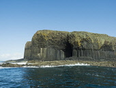 Basalt rock columns of the island of Staffa, with Entrance to Fingal's Cave, inner Hebrides, Scotland. Allan Coutts/ Scottish Viewpoint uk,u.k,Great Britain,GB,G.B,Scotland,Scottish,nobody,daytime,basalt,boat,cave,celtic,column,excursion,fingal,fingals,finn,folk,folklore,gaelic,geology,hebrides,igneous,inner,island,isle,isles,kingdom,