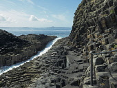 Basalt columns and hand rail for tourists next to Fingal's Cave on the Isle of Staffa, Scotland Allan Coutts/ Scottish Viewpoint uk,u.k,Great Britain,GB,G.B,Scotland,Scottish,nobody,daytime,argyll,basalt,bute,causeway,cave,caves,cliffs,columns,entirely,features,fingal,found,geological,geology,giants,hebrides,island,islands,mull