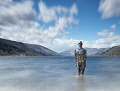 Mirror Man at St Fillans, Loch Earn, Perthshire, Scotland Allan Coutts/ Scottish Viewpoint uk,u.k,Great Britain,GB,G.B,Scotland,Scottish,nobody,daytime,atmospheric,foreshore,iconic,loch,Loch Earn,Mirror Man,mirrors,Perthshire,sculpture,St Fillans,statue