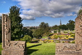 Perth city, Perthshire,  Scotland. Dennis Barnes/ Scottish Viewpoint uk,u.k,Great Britain,GB,G.B,Scotland,Scottish,nobody,daytime,Perth,Perthshire,sunny,city,River,Bellwood,Riverside,gardens,walk,sculpture,picture,frame,view,flowers,Tay