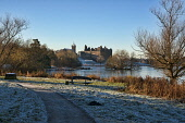 Linlithgow palace and loch, West Lothian,  Scotland UK. Dennis Barnes/ Scottish Viewpoint uk,u.k,Great Britain,GB,G.B,Scotland,Scottish,nobody,daytime,Linlithgow,palace,loch,peel,church,St Michaels,architecture,medieval,ancient,sunny,frost,winter
