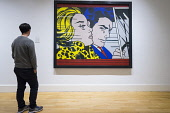 Man looking at painting, In the Car, by Roy Lichtenstein on display at Scottish National Gallery of Modern Art in Edinburgh, Scotland, United Kingdom Iain Masterton/ Scottish Viewpoint Scottish National Gallery of Modern Art,Edinburgh,Modern art museum,modern one,Edinburgh museum,interior,culture,museums,cultural,travel destination,scotland,scottish,capital cities,daytime,Europe,UK,