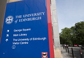 Sign at  University of Edinburgh in Scotland, United Kingdom Iain Masterton/ Scottish Viewpoint Edinburgh University,University of Edinburgh,education,building,modern,higher education,Scotland,Scottish,UK,United Kingdom,Britain,british,Europe,European,building exterior,universities