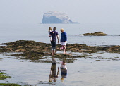 Family exploring rock pools on beach at North Berwick  with Bass Rock in the distance, in East Lothian, Scotland , United Kingdom. Iain Masterton/ Scottish Viewpoint North Berwick,town,beach,recreation,leisure,activity,family,rock pools,waterfront,paddling,paddle,seafront,activities,seaside,East Lothian,Scotland,Scottish,daytime,outdoors,view,UK,United Kingdom,Bri