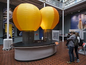 Model of hot air balloons at  National Museum of Scotland in Edinburgh, Scotland, United Kingdom Iain Masterton/ Scottish Viewpoint National Museum of Scotland,Edinburgh,Scottish,museums,interior,Britain,british,United Kingdom,Europe,European,museum,inside