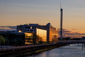 The BBC Scotland building and Glasgow Science centre tower, Glasgow, Scotland Allan Wright/ Scottish Viewpoint uk,u.k,Great Britain,GB,G.B,Scotland,Scottish,nobody,daytime,outdoors,glasgow,bbc,science,tower,river,clyde