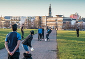 Street scenes , Glasgow, Scotland Glasgow Green Editorial use only Allan Wright/ Scottish Viewpoint uk,u.k,Great Britain,GB,G.B,Scotland,Scottish,people,daytime,outdoors,glasgow,urban,life,city,cities,scene,men,cricket,excercise,man,boy,boys
