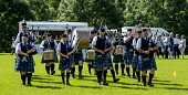 Peebles, Scotland UK 2nd September 2017. Peebles Highland Games, the biggest 'highland' games in the Scottish Borders took place in Peebles on September 2nd 2017 featuring pipe band contests, highland... Andrew Wilson/ Scottish Viewpoint uk,u.k,Great Britain,GB,G.B,Scotland,Scottish,group,daytime,outdoors,2017,Highland Games,Pipe Band,bagpipes,bagpipe,pipe,pipes,tartan,kilts