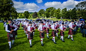 Peebles, Scotland UK 2nd September 2017. Peebles Highland Games, the biggest 'highland' games in the Scottish Borders took place in Peebles on September 2nd 2017 featuring pipe band contests, highland... Andrew Wilson/ Scottish Viewpoint uk,u.k,Great Britain,GB,G.B,Scotland,Scottish,group,daytime,outdoors,2017,Highland Games,Pipe Band,bagpipes,bagpipe,pipe,pipes,tartan,kilts,spectators